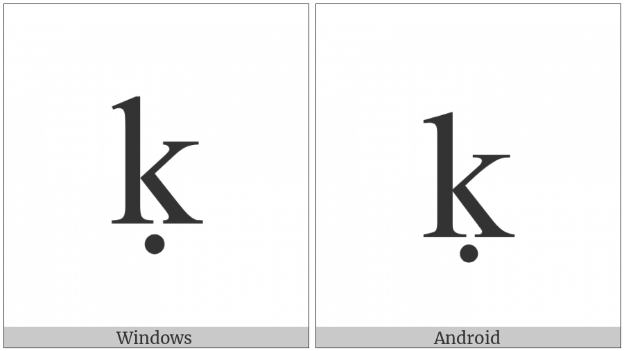 Latin Small Letter K With Dot Below on various operating systems