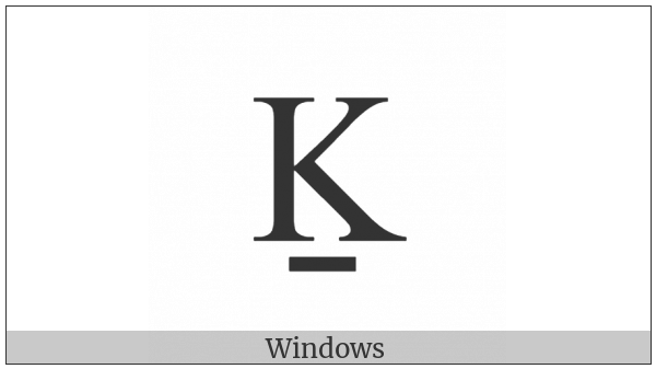 Latin Capital Letter K With Line Below on various operating systems
