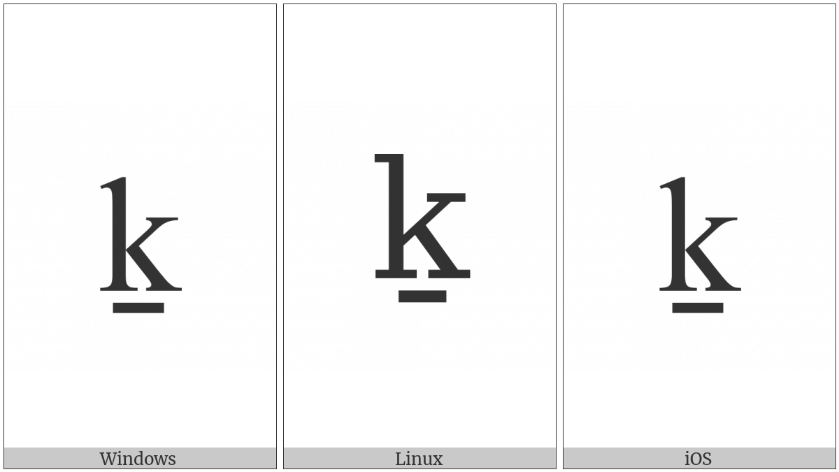 Latin Small Letter K With Line Below on various operating systems