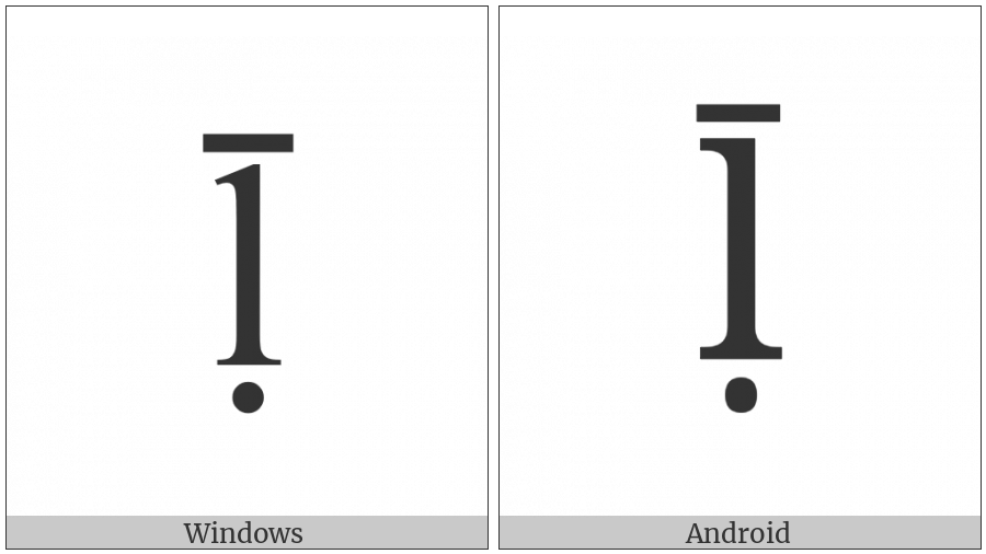 Latin Small Letter L With Dot Below And Macron on various operating systems
