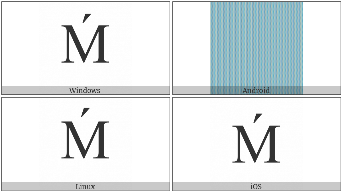 Latin Capital Letter M With Acute on various operating systems