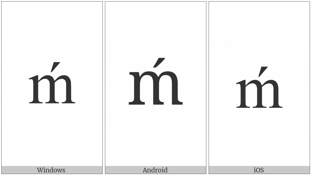 Latin Small Letter M With Acute on various operating systems