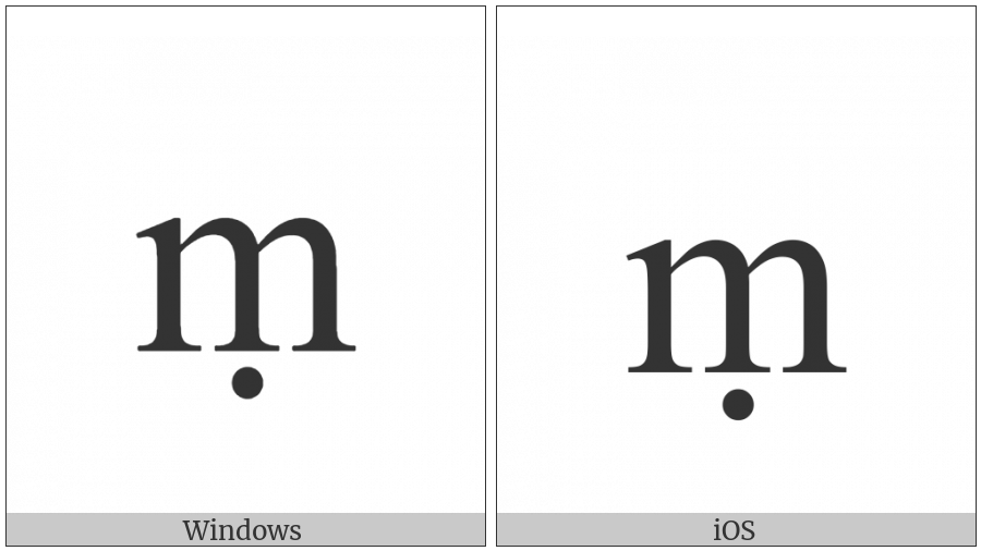 Latin Small Letter M With Dot Below on various operating systems