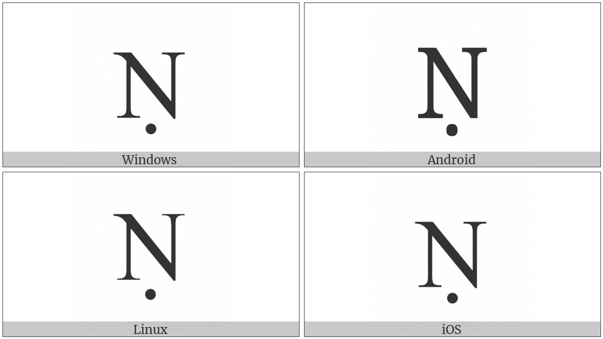Latin Capital Letter N With Dot Below on various operating systems
