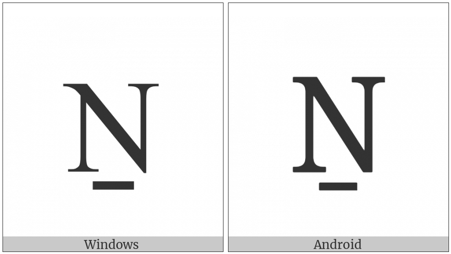 Latin Capital Letter N With Line Below on various operating systems