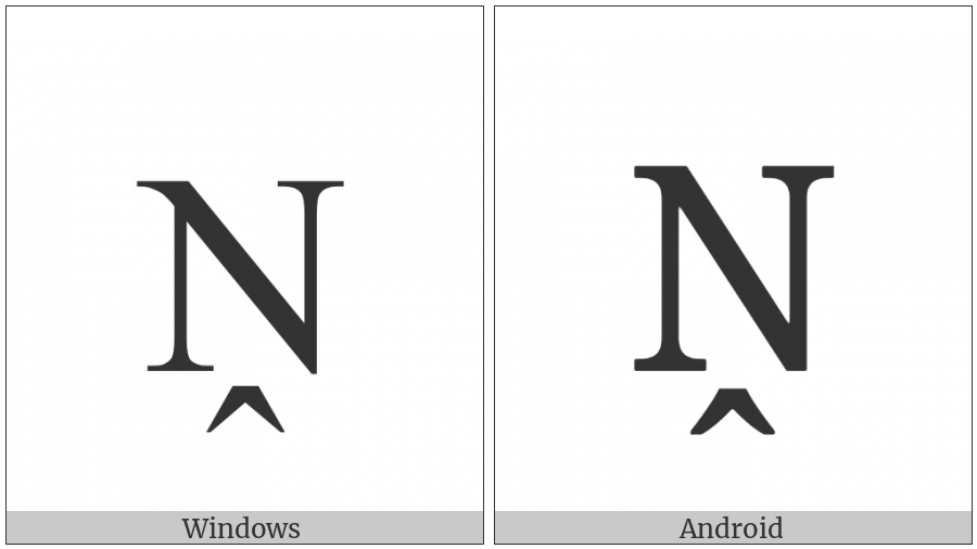 Latin Capital Letter N With Circumflex Below on various operating systems
