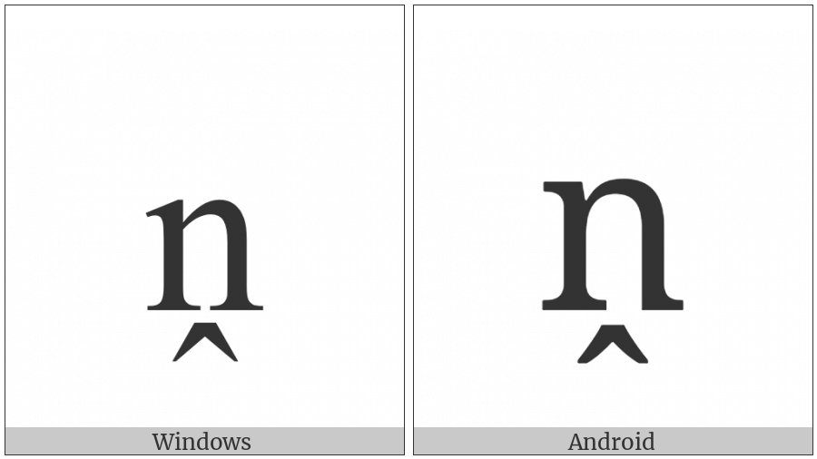 Latin Small Letter N With Circumflex Below on various operating systems