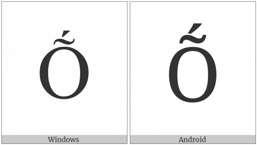 Latin Capital Letter O With Tilde And Acute on various operating systems