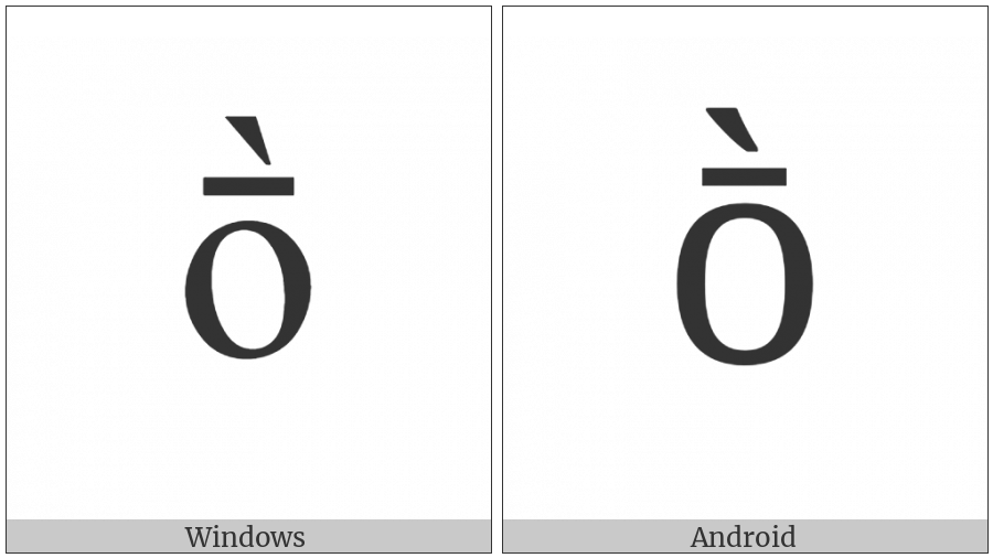 Latin Small Letter O With Macron And Grave on various operating systems