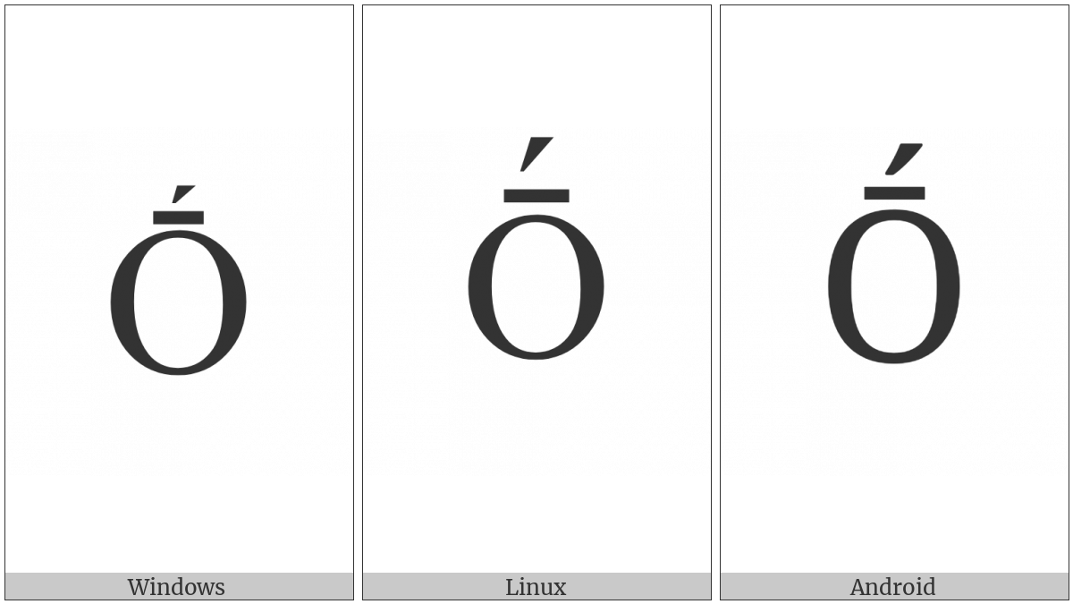 Latin Capital Letter O With Macron And Acute on various operating systems