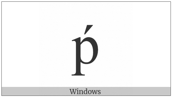 Latin Small Letter P With Acute on various operating systems