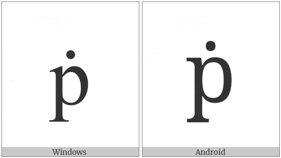 Latin Small Letter P With Dot Above on various operating systems