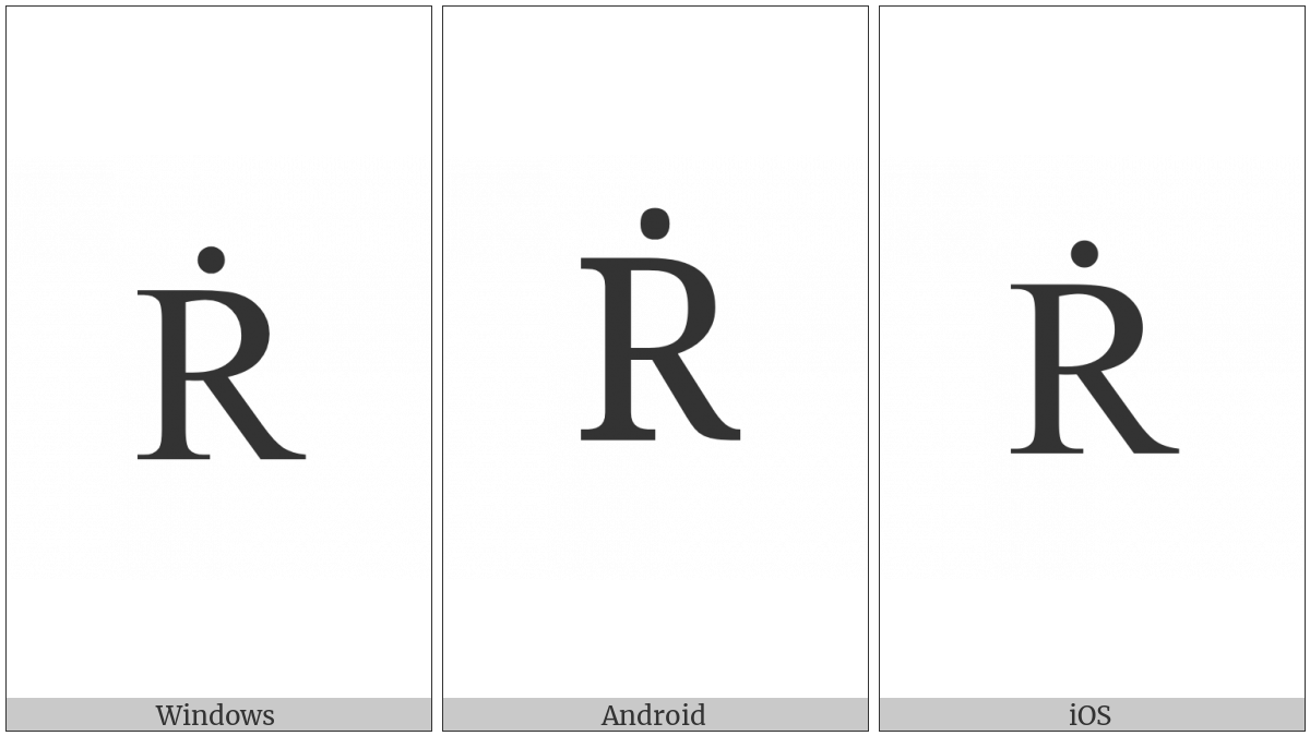 Latin Capital Letter R With Dot Above on various operating systems