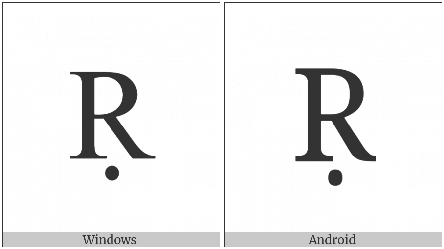Latin Capital Letter R With Dot Below on various operating systems