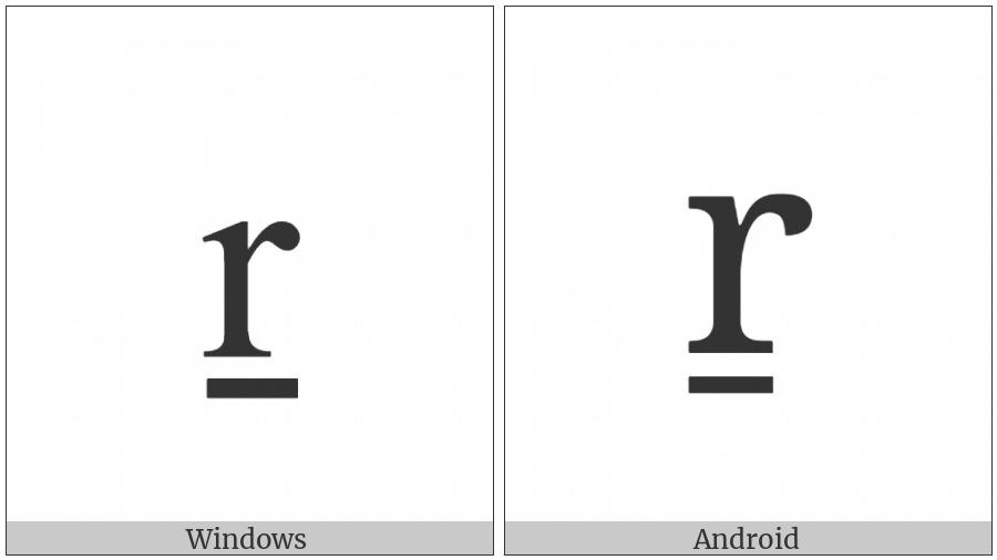 Latin Small Letter R With Line Below on various operating systems