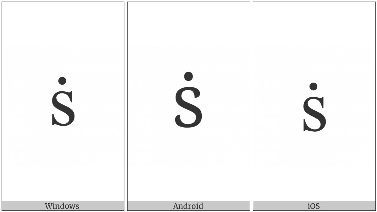 Latin Small Letter S With Dot Above on various operating systems