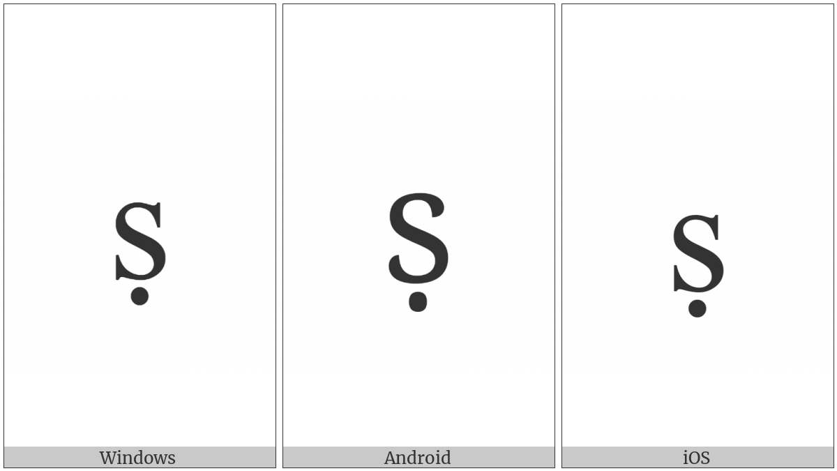 Latin Small Letter S With Dot Below on various operating systems