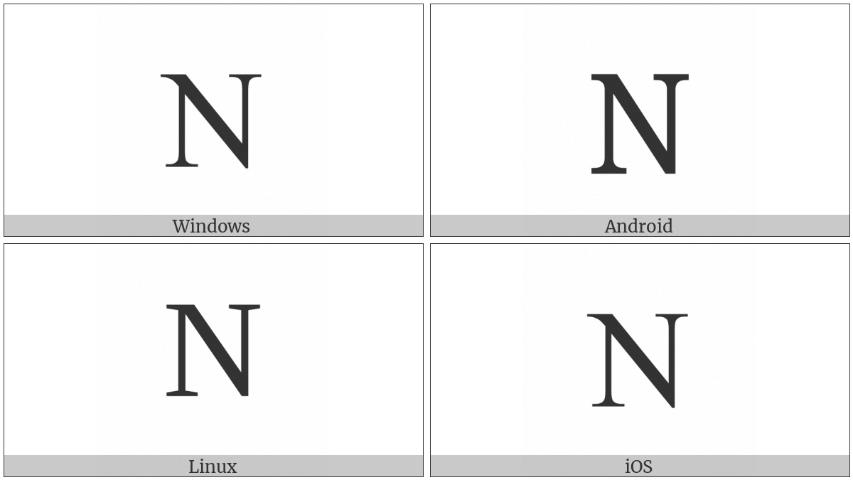 Latin Capital Letter N on various operating systems