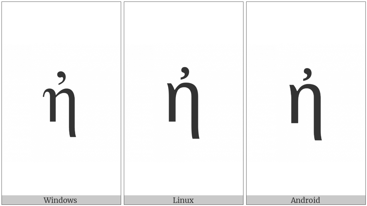 Greek Small Letter Eta With Psili on various operating systems