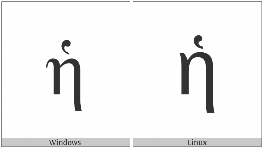Greek Small Letter Eta With Dasia on various operating systems