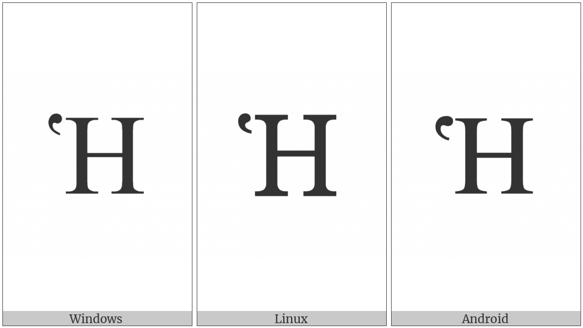 Greek Capital Letter Eta With Dasia on various operating systems