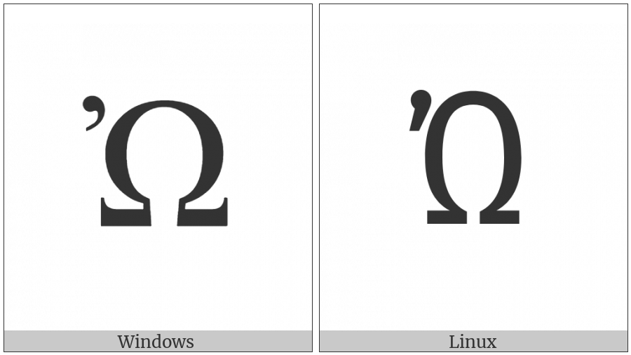 Greek Capital Letter Omega With Psili on various operating systems