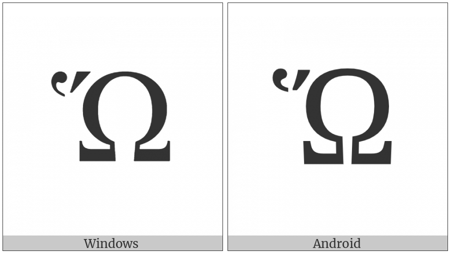 Greek Capital Letter Omega With Dasia And Oxia on various operating systems