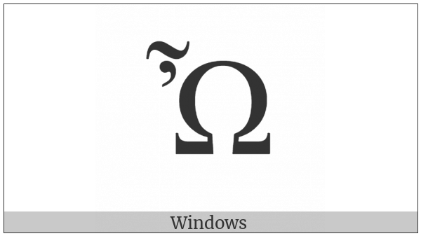 Greek Capital Letter Omega With Psili And Perispomeni on various operating systems
