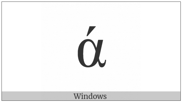 Greek Small Letter Alpha With Oxia on various operating systems