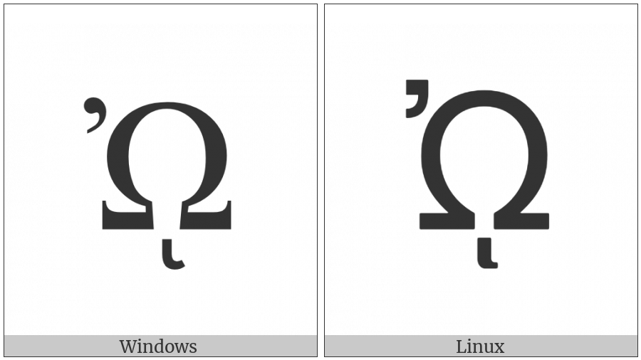 Greek Capital Letter Omega With Psili And Prosgegrammeni on various operating systems