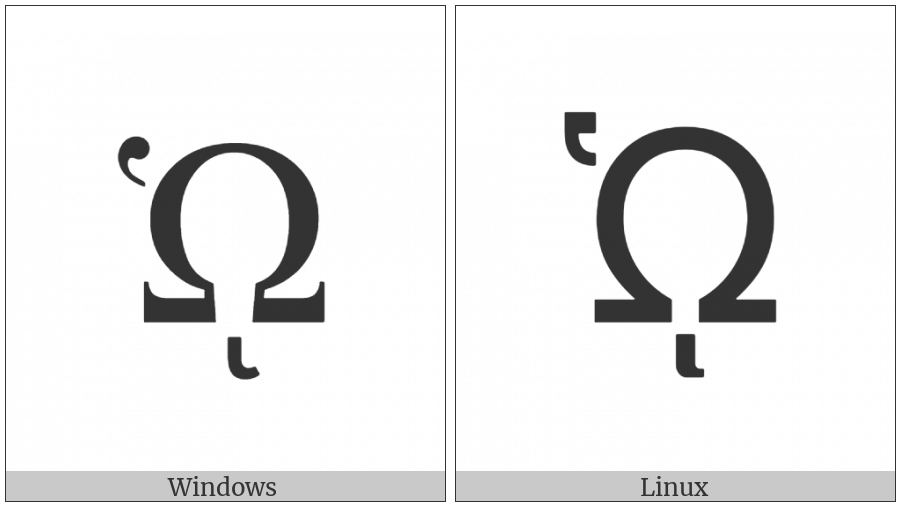 Greek Capital Letter Omega With Dasia And Prosgegrammeni on various operating systems