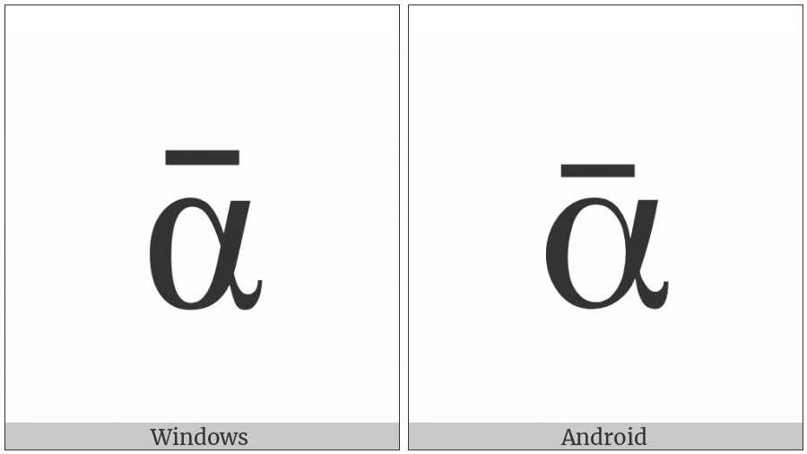 Greek Small Letter Alpha With Macron on various operating systems