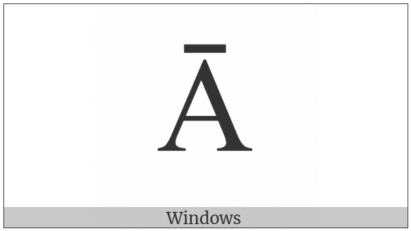 Greek Capital Letter Alpha With Macron on various operating systems