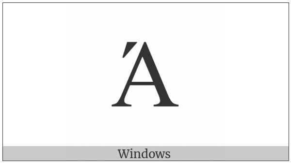 Greek Capital Letter Alpha With Oxia on various operating systems