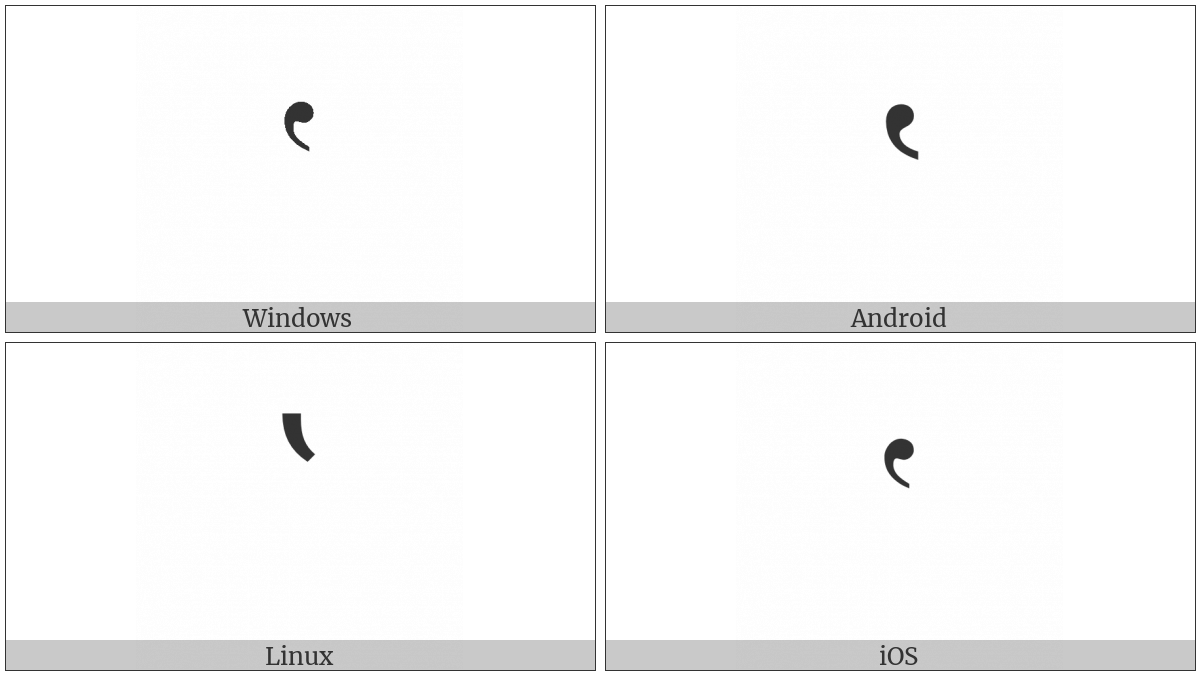 Single High-Reversed-9 Quotation Mark on various operating systems