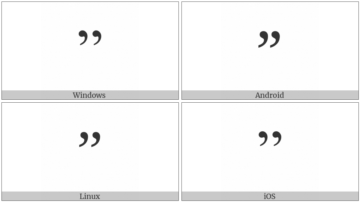 Right Double Quotation Mark on various operating systems