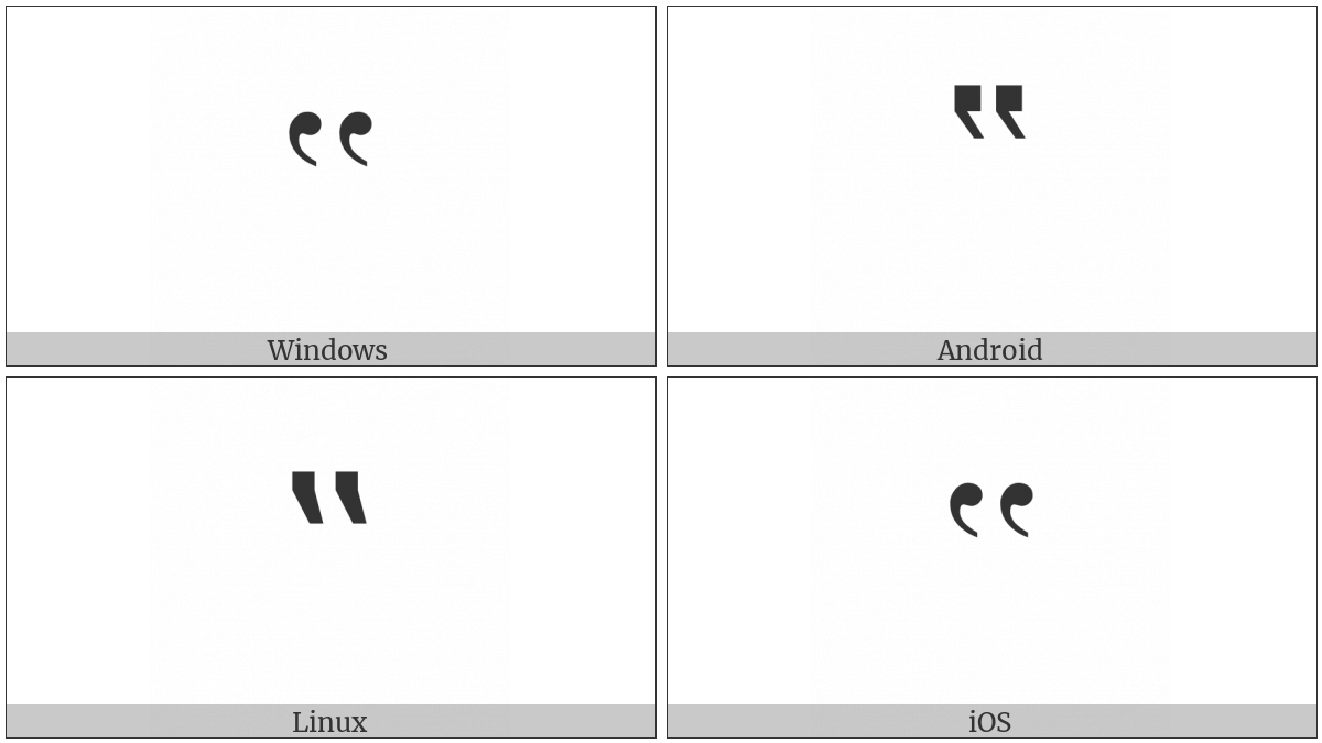Double High-Reversed-9 Quotation Mark on various operating systems
