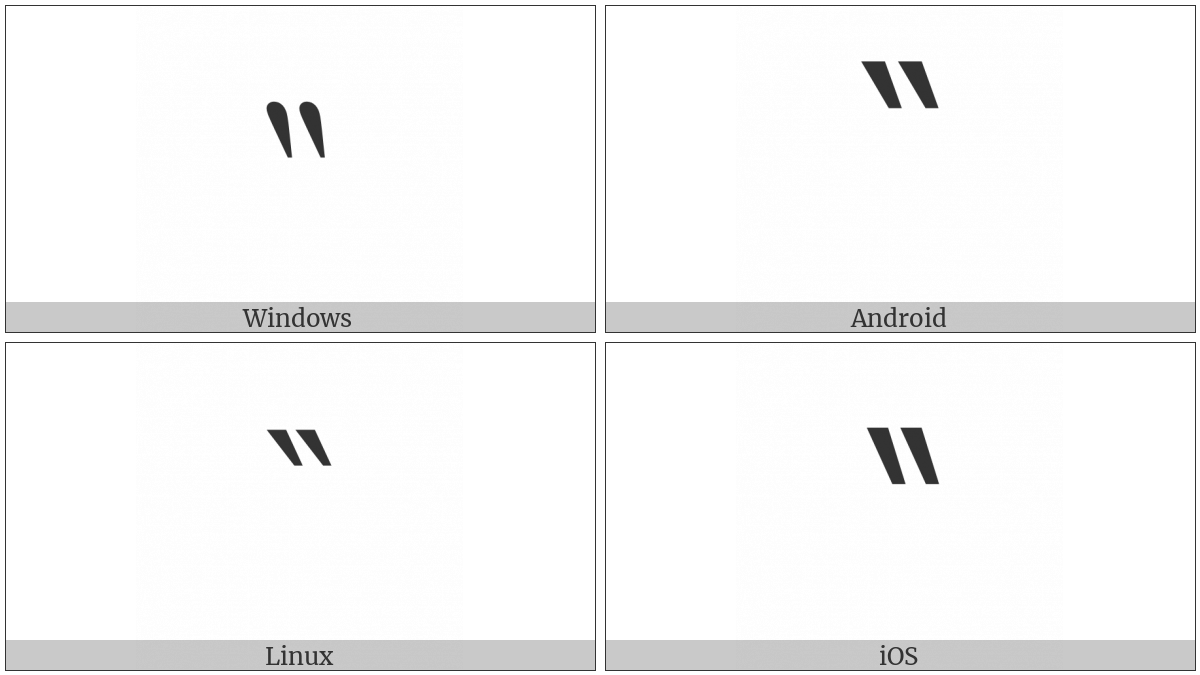 Reversed Double Prime on various operating systems