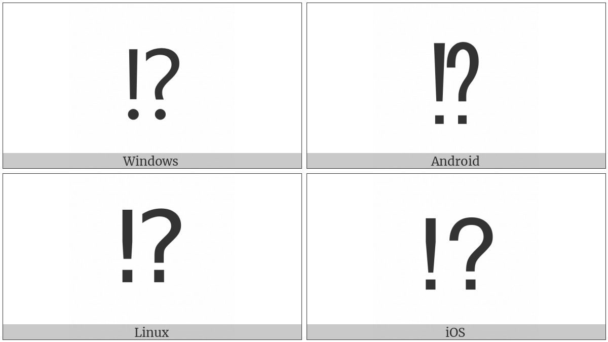 Exclamation Question Mark on various operating systems