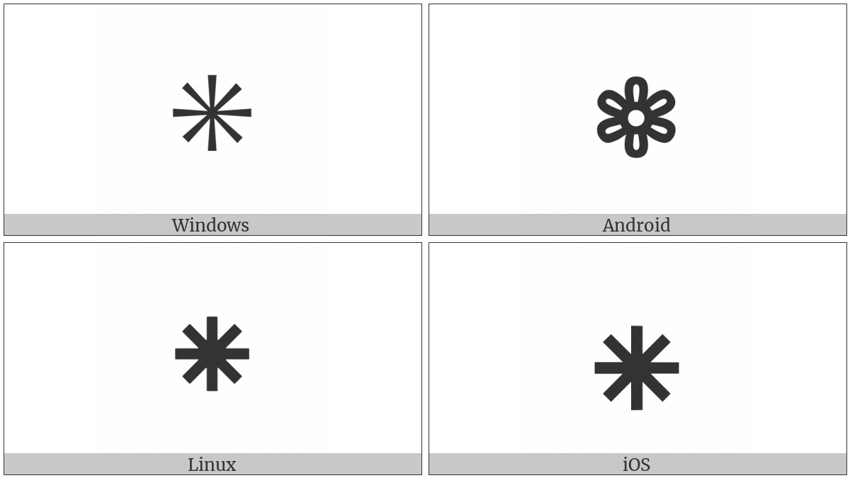 Flower Punctuation Mark on various operating systems