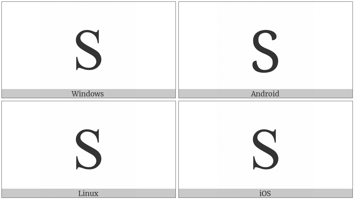 Latin Capital Letter S on various operating systems