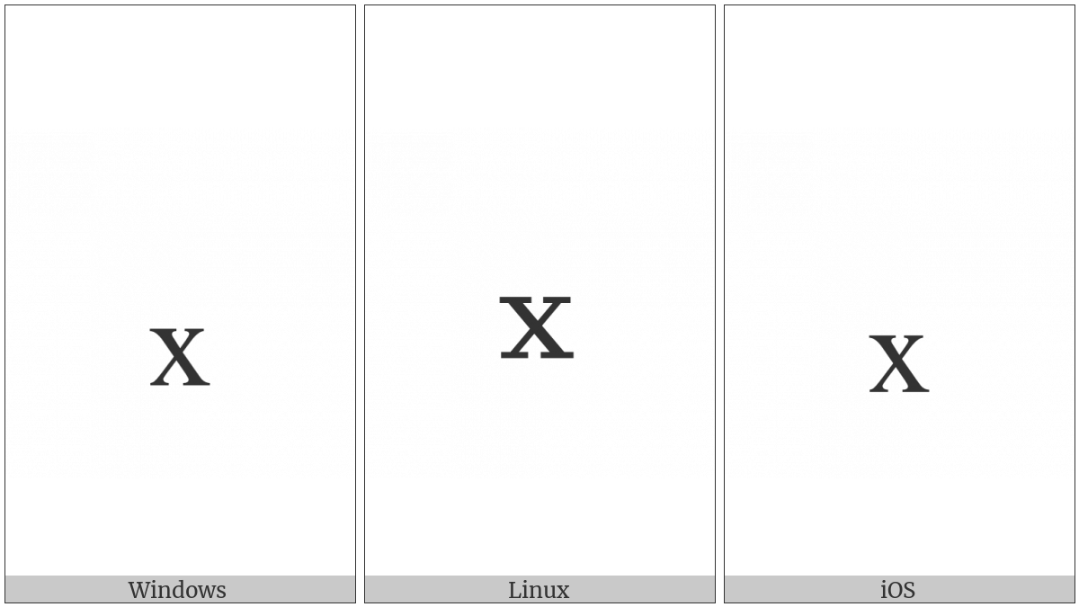 Latin Subscript Small Letter X on various operating systems