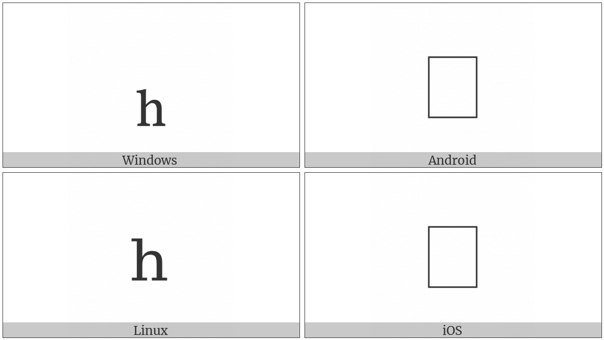 Latin Subscript Small Letter H on various operating systems