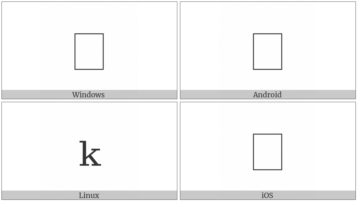 Latin Subscript Small Letter K on various operating systems