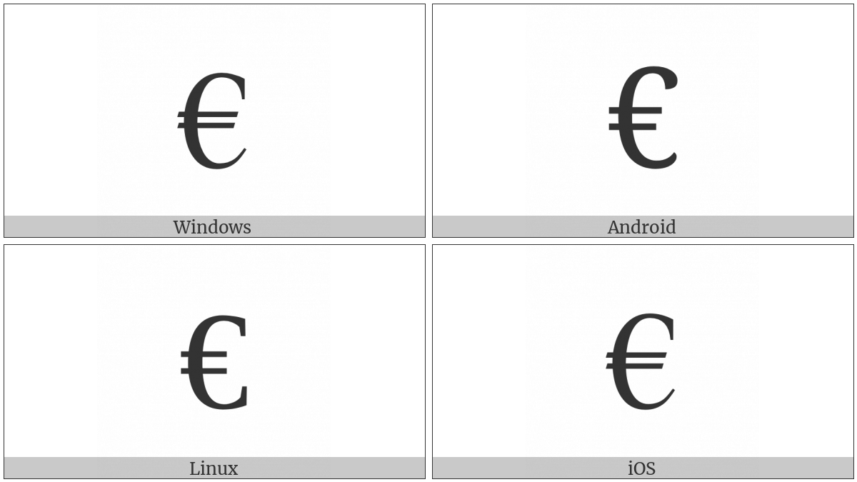 Euro sign utf 8 icons euro sign on various operating systems biocorpaavc Choice Image