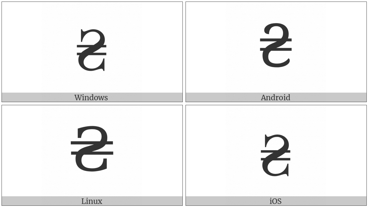 Hryvnia Sign on various operating systems