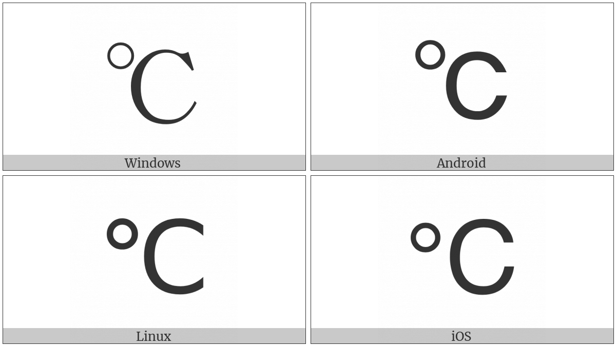 degree celsius utf 8 icons