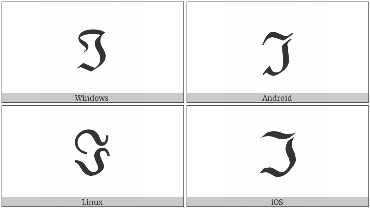 Black-Letter Capital I on various operating systems