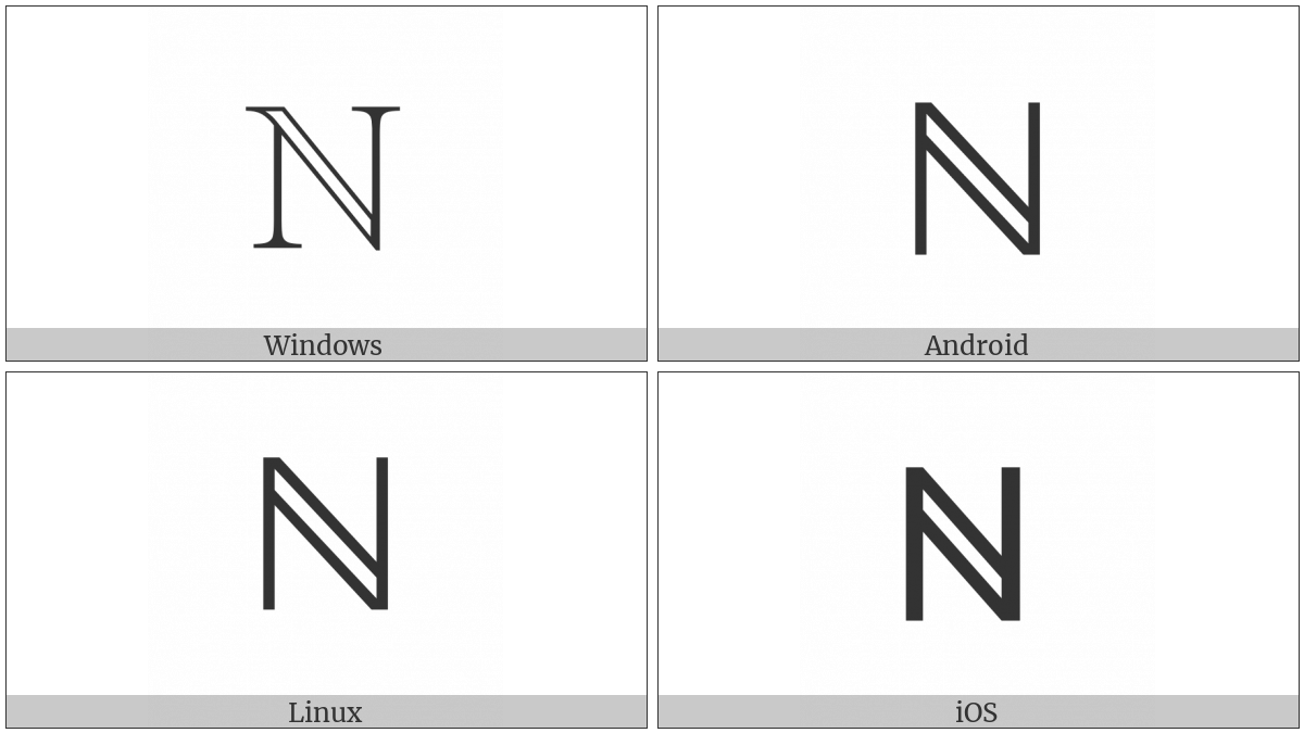Double-Struck Capital N on various operating systems