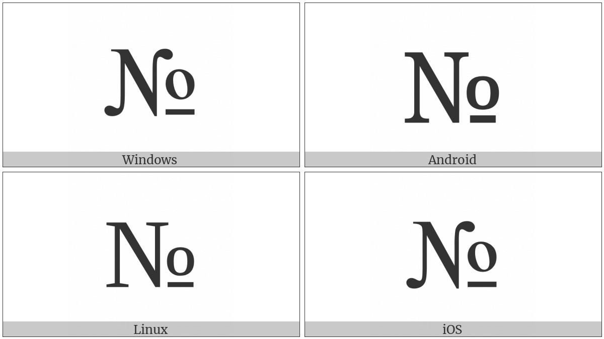 Numero Sign on various operating systems